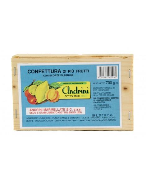 Confettura di più frutti  da 700 gr scatola legno Andrini
